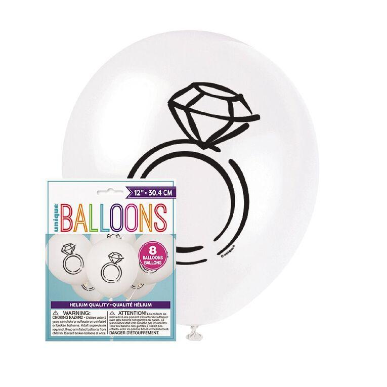 Unique Diamond Ring Balloons 30cm White 8 Pack, , hi-res