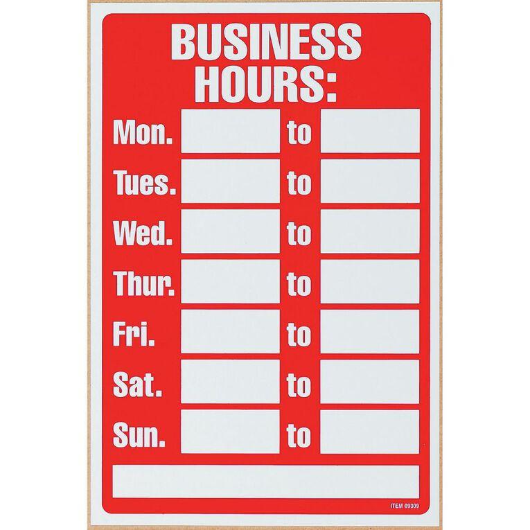 Headline Headline Business Hours Sign Red/White, , hi-res