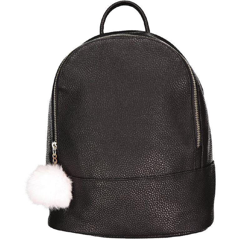 H&H Pom Pom Mini Backpack, Black, hi-res