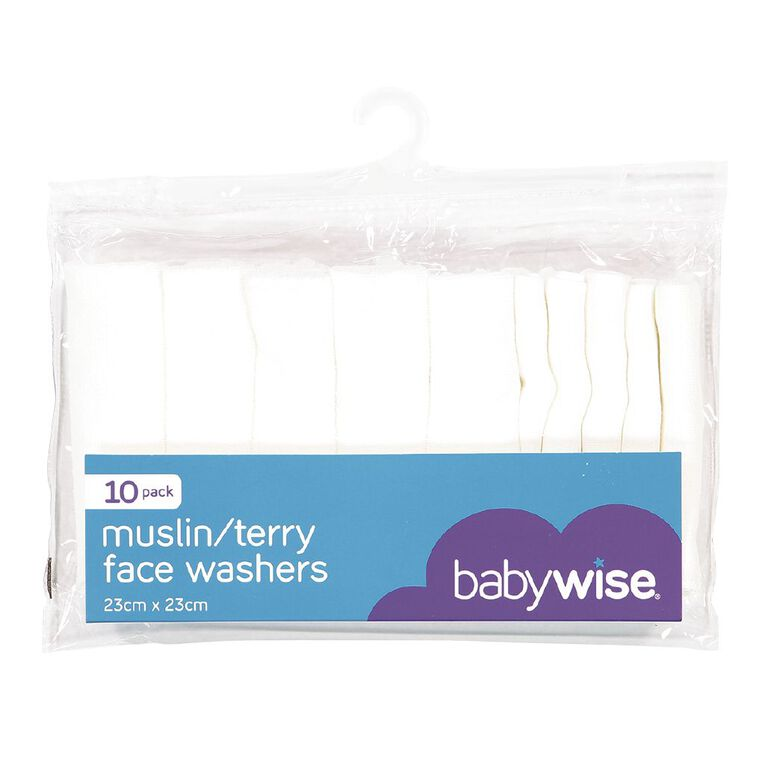 Babywise Muslin/Terry Facewasher 10 Pack, , hi-res image number null