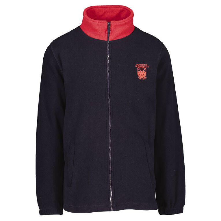 Schooltex Pukekohe Intermediate Full Zip Polar Fleece Jacket, Navy/Red, hi-res