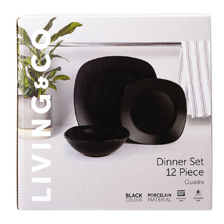Living & Co Quadra Dinnerset Black 12 Piece, , hi-res