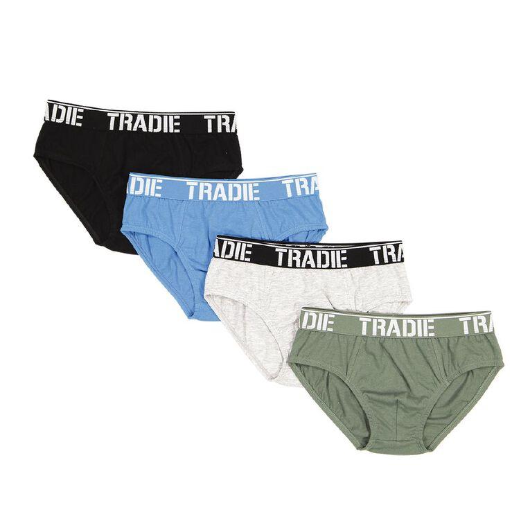 Tradie Boys' Briefs 4 Pack, Green/Black, hi-res