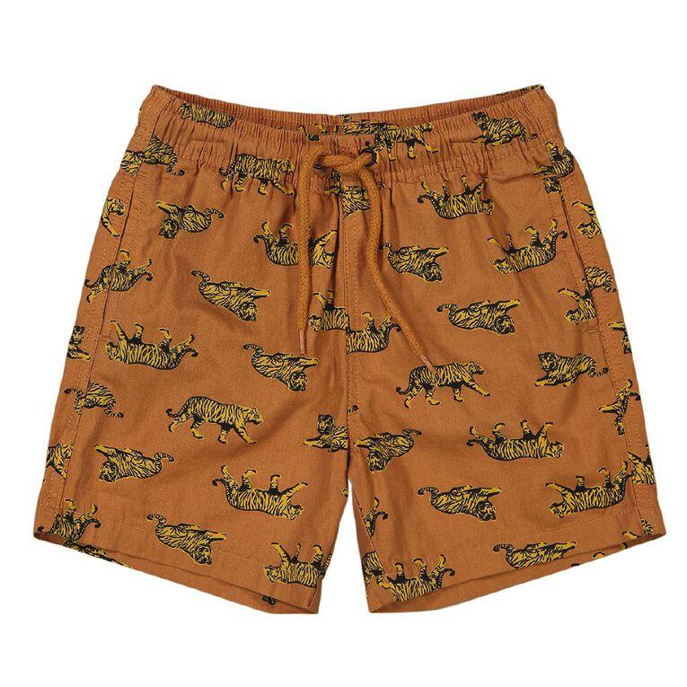 Young Original AOP Cotton Volley Shorts, Orange Dark, hi-res