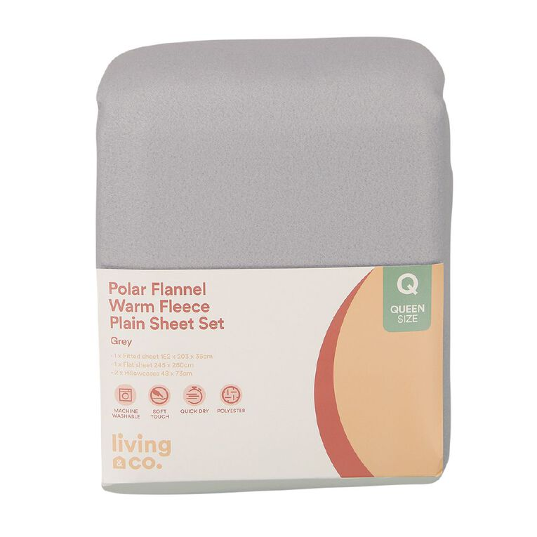 Living & Co Sheet Set Polar Flannel Plain Dye High Rise Grey Super King, Grey, hi-res