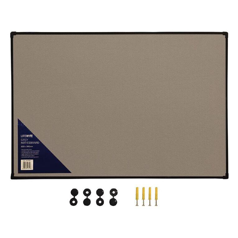 Litewyte Grey Fabric Pinboard 600mm x 900mm, , hi-res