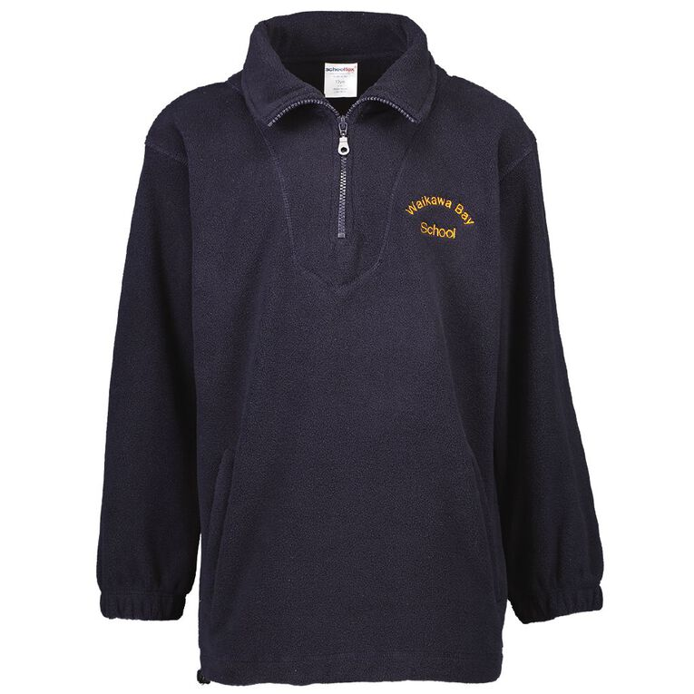 Schooltex Waikawa Bay Polar Fleece Top with Embroidery, Navy, hi-res