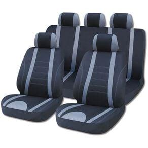 Mako Car Seat Cover Set Low Back Black/Grey 9 Pack