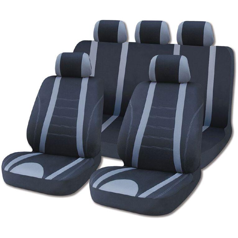 Mako Car Seat Cover Set Low Back Black/Grey 9 Pack, , hi-res