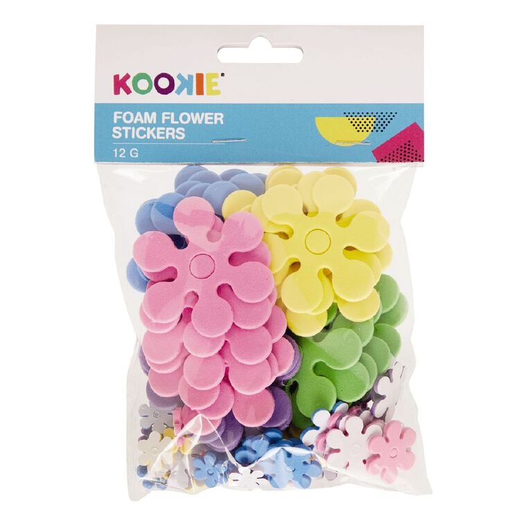 Kookie Foam Stickers Flower Multi-Coloured 12G, , hi-res