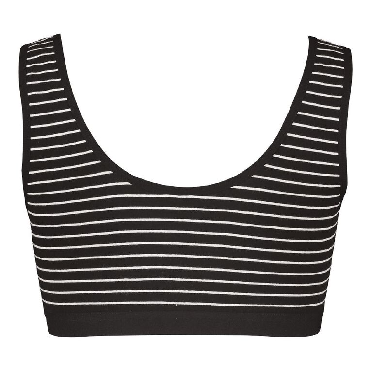 H&H Women's Crop Top, Black/White, hi-res