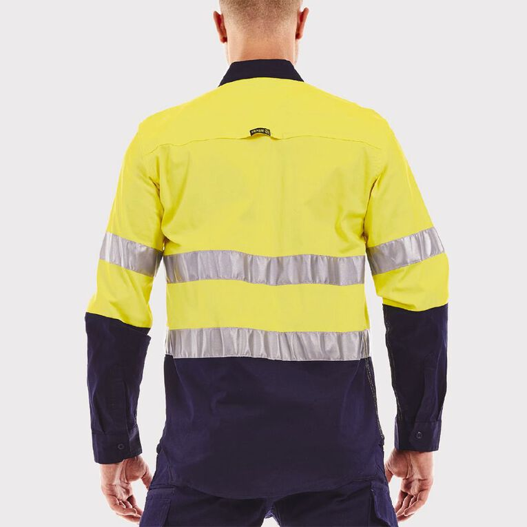 Tradie Hi-Vis Long Sleeve Flex Shirt with Reflective Tape, Navy, hi-res image number null