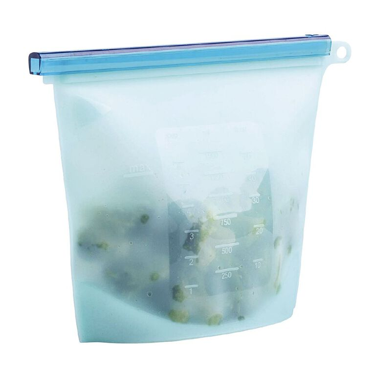 Living & Co Silicone Reusuable Food Storage Bags Clear 2 Pack, , hi-res