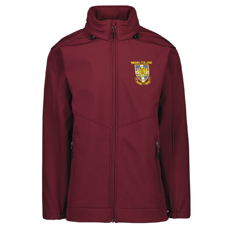 Schooltex Waiuku College SoftShell Jacket with Embroidery, Burgundy, hi-res