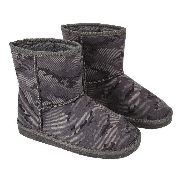 Young Original Kids' Print Slipper Boots, Grey, hi-res