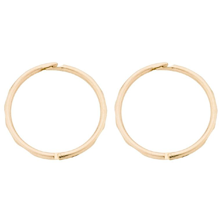 9ct Gold Diamond Cut Sleeper Earrings 13mm, , hi-res