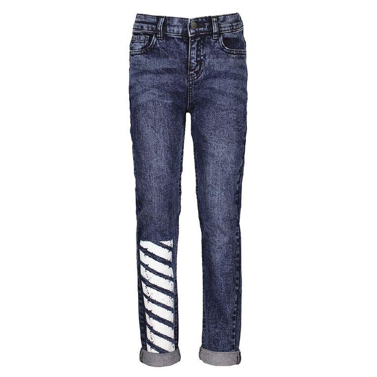 Young Original Boys' Print Leg Jeans, Blue Mid, hi-res