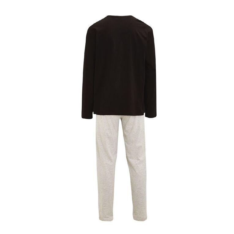 H&H Men's Knit Pyjamas, Black, hi-res
