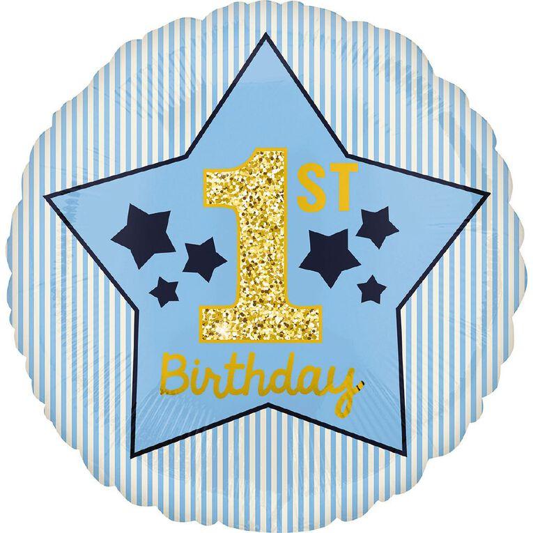 Anagram Boy 1st Birthday Blue & Gold Foil Balloon Standard 17in, , hi-res