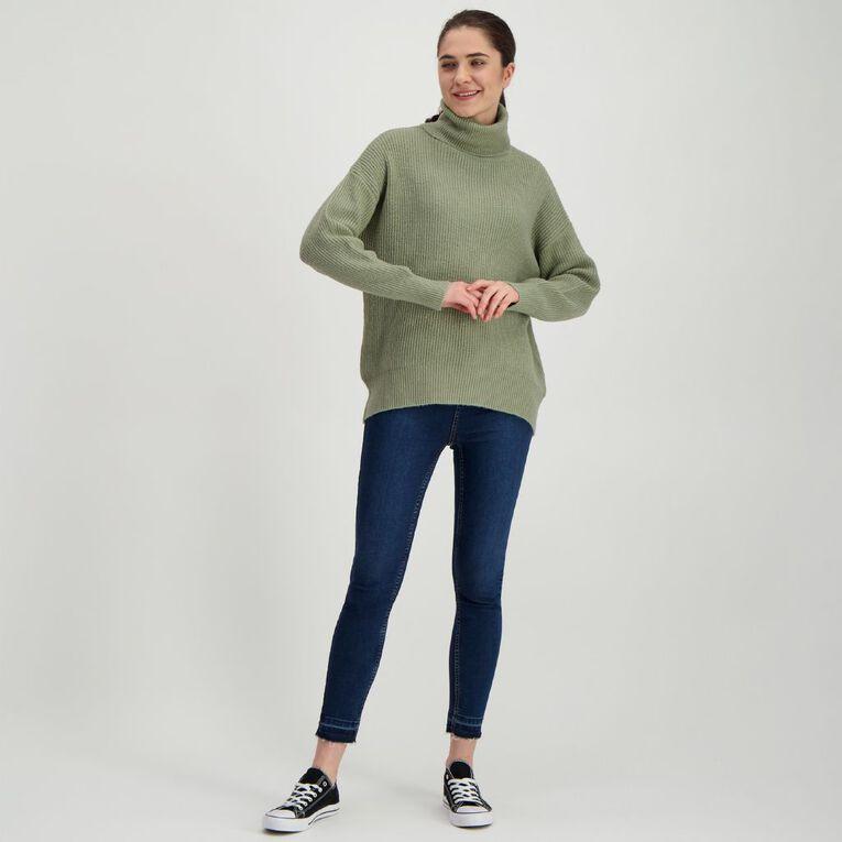 H&H Women's Spongy Knit Roll Neck Jumper, Green Light, hi-res
