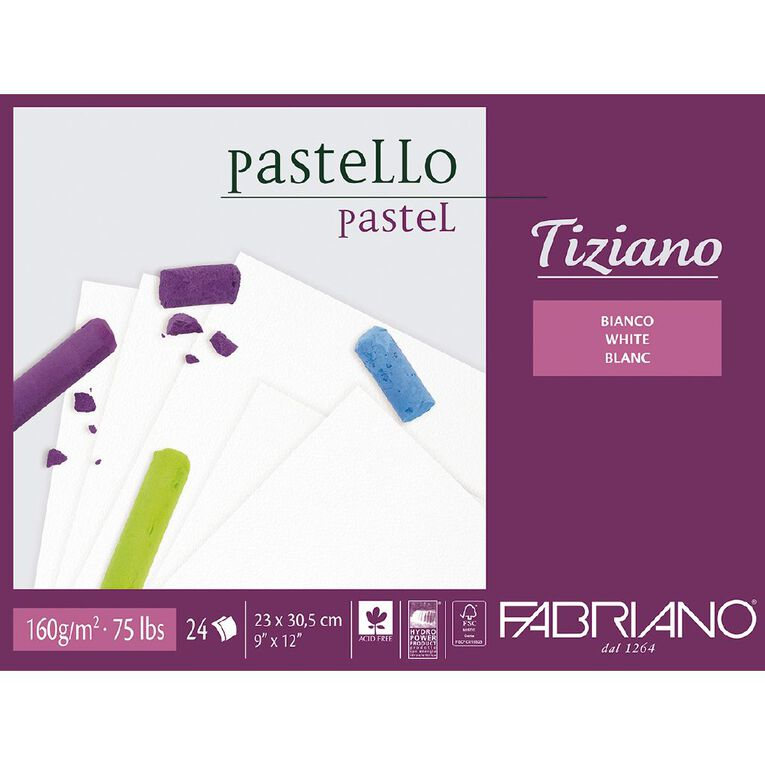 Fabriano Tiziano Pastel Art Pad 160GSM White 9in x 12in, , hi-res