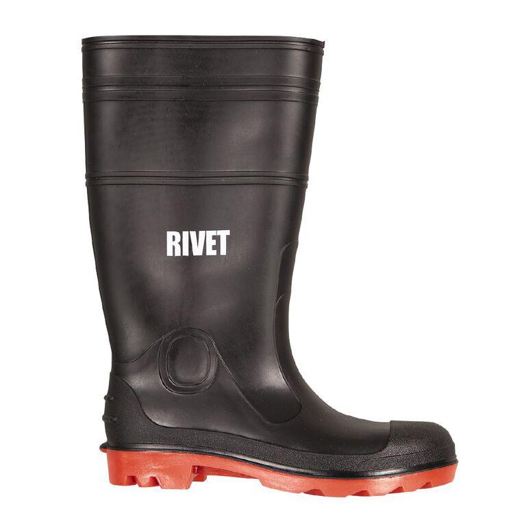 Rivet Works Gumboots, Black/Red, hi-res