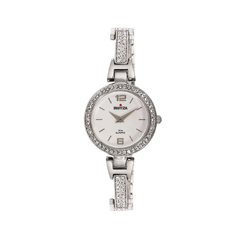 Switza Ladies' IPG Silver Stone Set Watch with Silver Dial, , hi-res