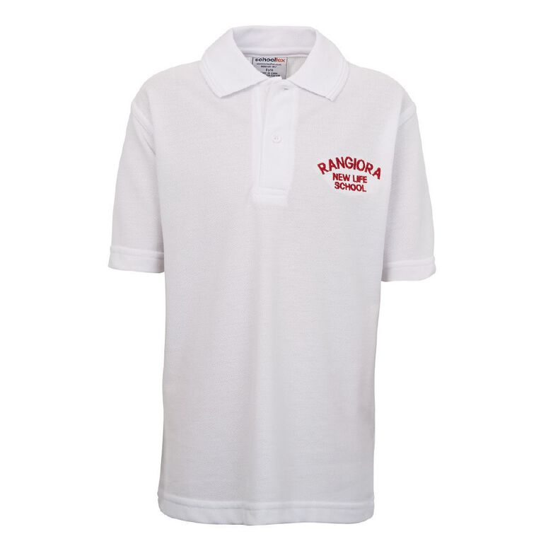 Schooltex Rangiora New Life Short Sleeve Polo with Embroidery, White, hi-res