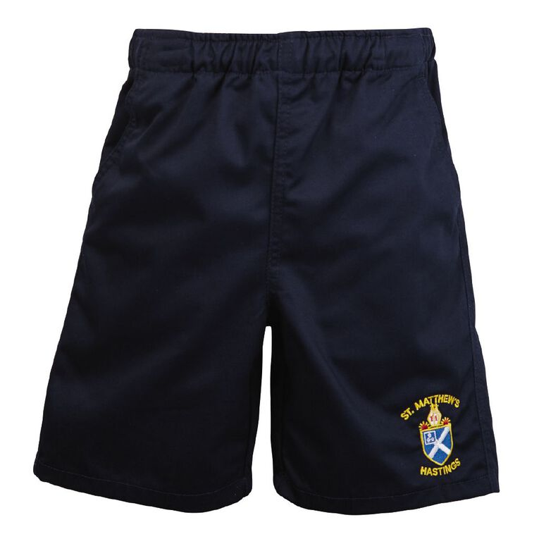 Schooltex St Matthew's Hastings Shorts with Embroidery, Navy, hi-res