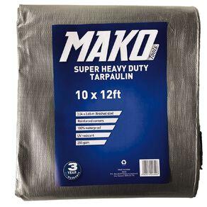 Mako Tarpaulin Silver/Black 205gsm 10ft x 12ft