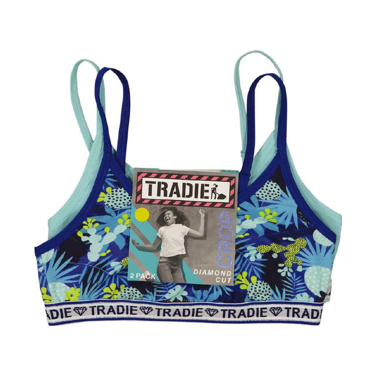 Tradie Girls' Diamond Cut Crop, Blue, hi-res
