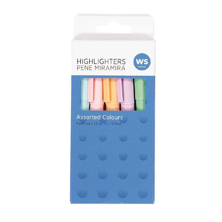 WS Highlighter Slim Pastel 5 Pack, , hi-res