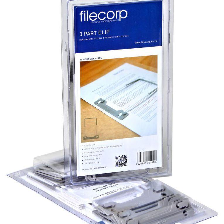 Filecorp 3 Part Clip Self Adhesive 10 Pack Grey, , hi-res