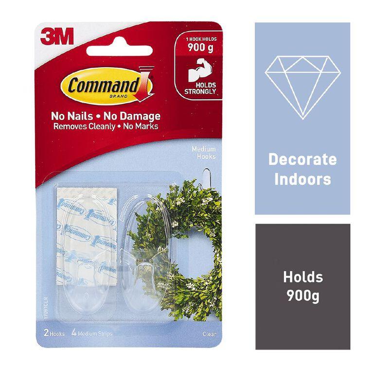 Command Hooks 2 Pack & 4 Strips Clear Medium, , hi-res