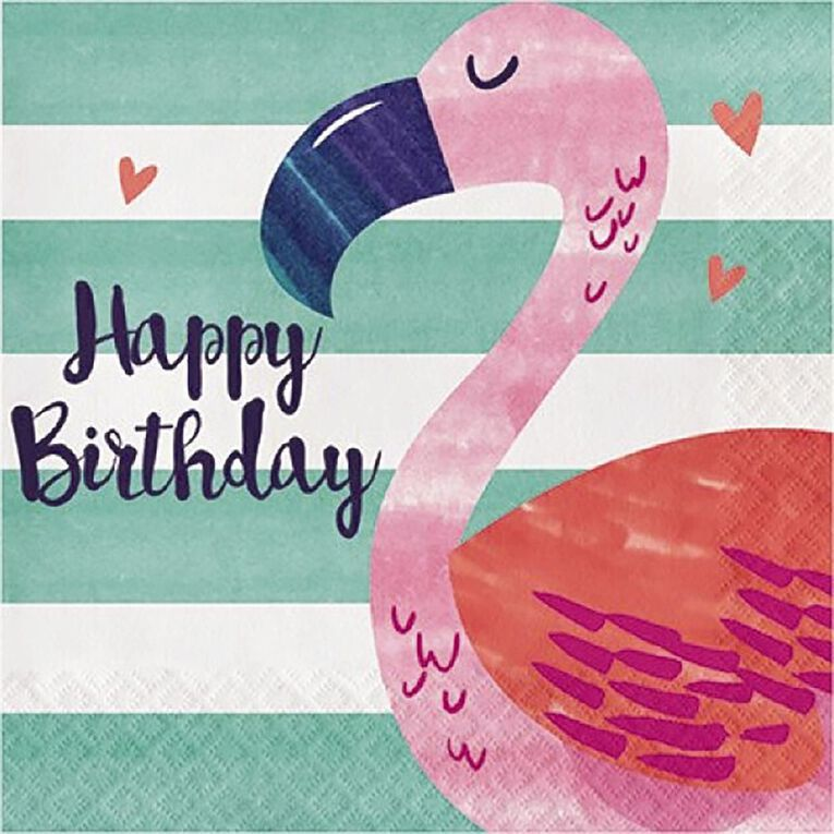 Amscan Flamingo Happy Birthday Lunch Napkins 16 Pack, , hi-res