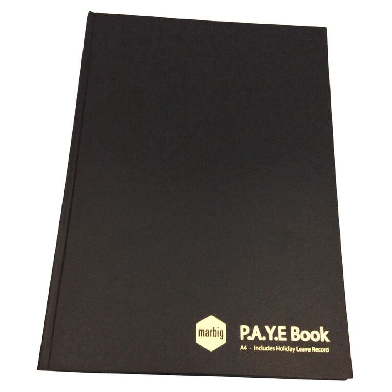 Marbig Wages & Paye Book Hard Cover Black A4, , hi-res