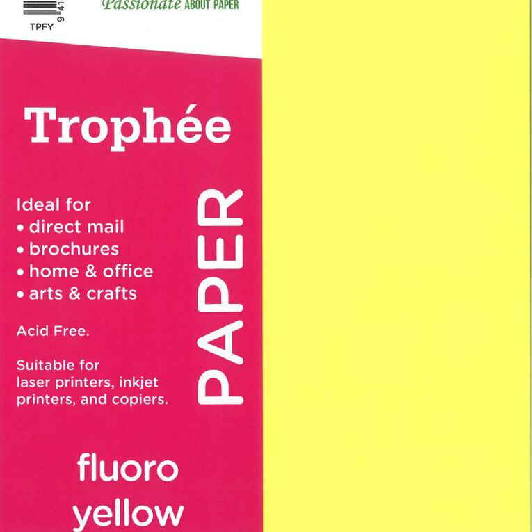 Trophee Paper 80gsm 30 Pack Fluoro Yellow A4, , hi-res
