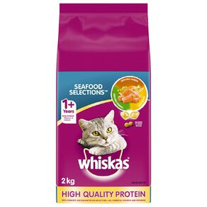 Whiskas Adult Dry Cat Food Seafood Selections  2kg