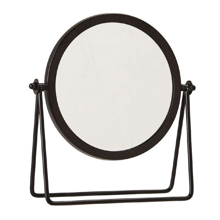 Living & Co Round Vanity Mirror Black 18cm x 21cm, , hi-res