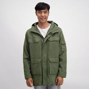 H&H Men's Hooded Utliity Pocket Jacket