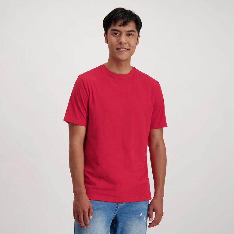 H&H Men's Crew Neck Short Sleeve Plain Tee, Red, hi-res