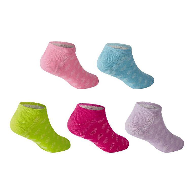Active Intent Girls' Microfibre No Show Socks 5 Pack, Mixed Assortment, hi-res