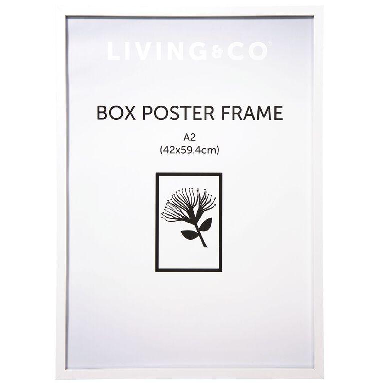 Living & Co Box Poster Frame White A2, White, hi-res