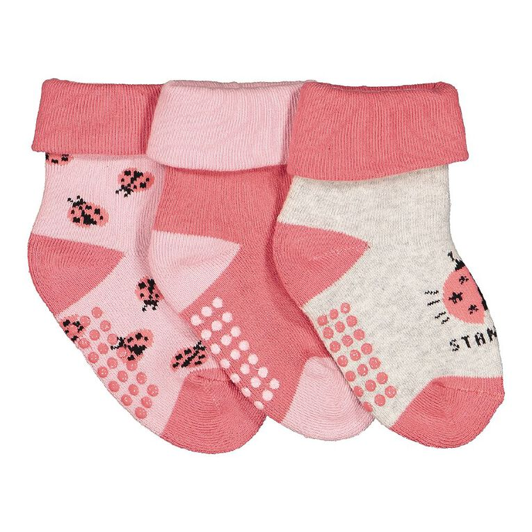 H&H Infant Girls' Terry Bootie 3 Pack, Pink Mid, hi-res