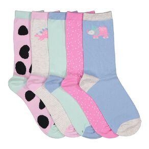 H&H Girls' Jacquard Crew Socks 5 Pack