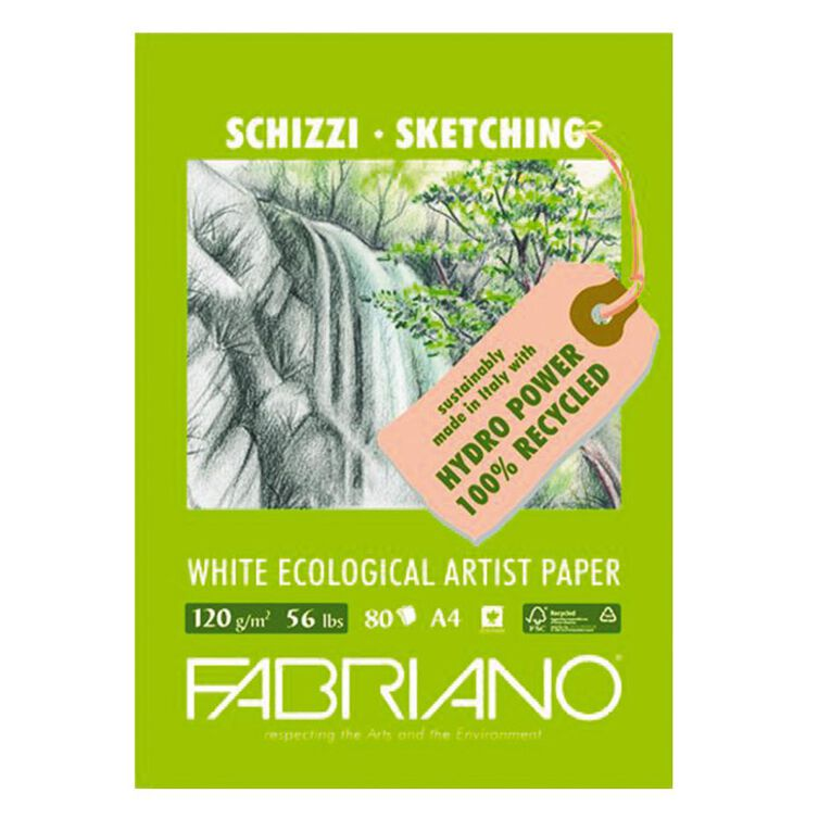 Fabriano Ecological Sketch Pad 120GSM 80 Sheets A4, , hi-res