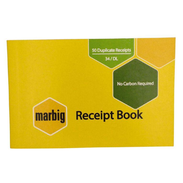 Marbig Receipt Book 34 Duplicate 50 Leaf Yellow, , hi-res