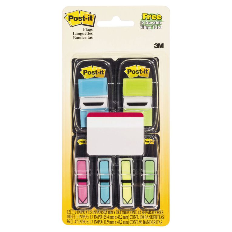 Post-It Flags 25.4mm x 43.2mm 11.9mm x 43.2mm Value Pack Assorted, , hi-res