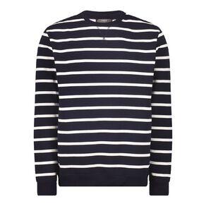H&H Men's Men's Striped Crew Sweatshirt