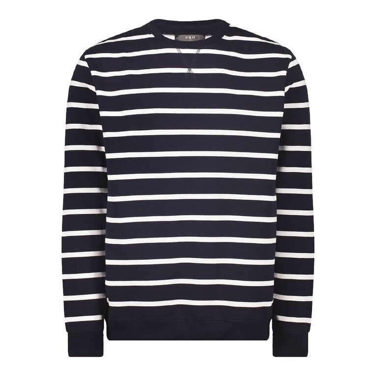 H&H Men's Men's Striped Crew Sweatshirt, Navy/White, hi-res